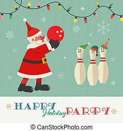 augurio, bowling, felice, vettore, festa, vacanza, appartamento
