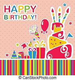augurio, compleanno, fondo., vettore, scheda, felice