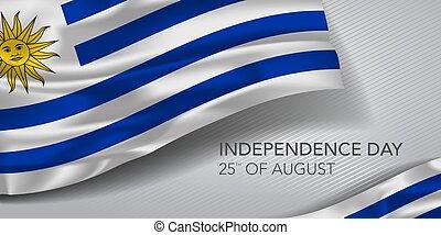 augurio, testo, vettore, illustrazione, scheda, felice, giorno indipendenza, bandiera, uruguay, sagoma