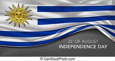 augurio, testo, vettore, illustrazione, scheda, giorno indipendenza, bandiera, uruguay, sagoma