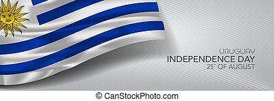 augurio, vettore, giorno indipendenza, bandiera, uruguay, card.