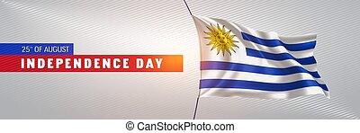 augurio, vettore, illustrazione, scheda, felice, giorno indipendenza, bandiera, uruguay