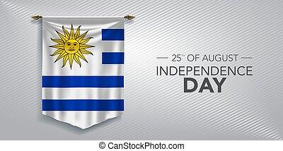 augurio, vettore, illustrazione, scheda, giorno indipendenza, bandiera, uruguay