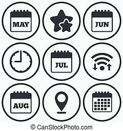 august., giugno, luglio, calendar., maggio