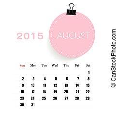 august., mensile, illu, calendario, vettore, sagoma, 2015, calendario