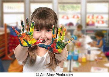 aula, asilo, pittura