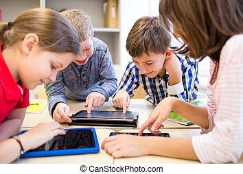 aula, bambini scuola, gruppo, pc tavoletta
