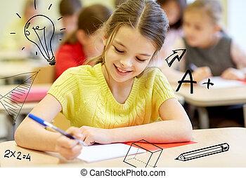 aula, bambini scuola, gruppo, scrittura, prova