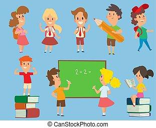 aula, bambini scuola, primario, illustration., schoolkids, studio, carattere, giovane, indietro, vettore, educazione, infanzia, prescolastico, felice
