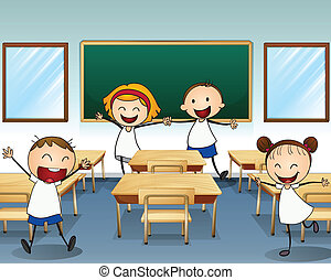 aula, dentro, bambini, fare prove