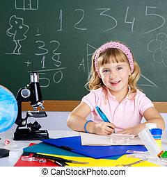 aula, poco, scuola, microscopio, ragazza, bambini