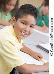 aula, scuola elementare, maschio, pupilla