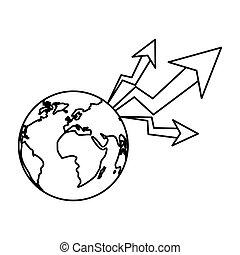 aumento, pianeta, disegno, isolato