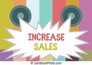 aumento, prodotto, concetto, parola, affari, testo, venduto, clienti, scrittura, sales., crescita, boosting, trafficare