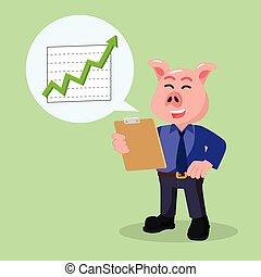 aumento, reportment, affari, maiale