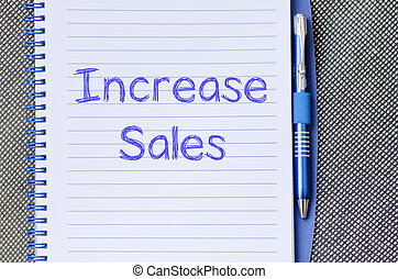 aumento, scrivere, quaderno, vendite