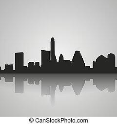 austin, riflessione., silhouette, nero, skyline città