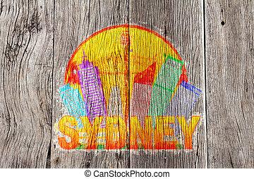 australia, colore sfondo, orizzonte, legno, sydney, illustrati, cerchio