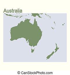 australia, mappa, continente, vettore