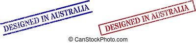 australia, rettangolo, grunge, cornice, disegnato, francobollo, sigilli, graffiato