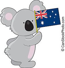 australiano, koala, bandiera