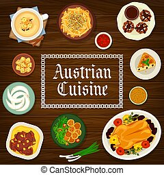 austriaco, cucina, cartone animato, cibo, austria, manifesto