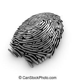 authentication, impronta digitale, rappresentazione, o, riconoscimento, 3d