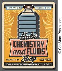 auto, chimica, antifreeze, fluidi