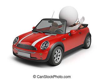 auto di dimensioni compatte, berlina compatta, 3d, -, persone