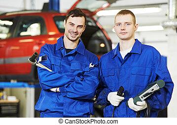auto, lavorante, riparatore, meccanico