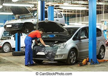 auto, lavoro, meccanico