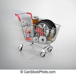 auto, parti, s, trolley., automobilistico, cesto, store.