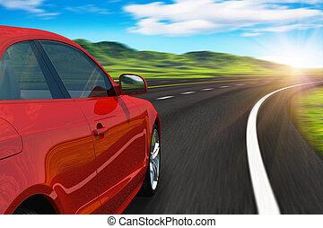 autobahn, automobile, rosso, guida