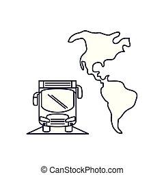 autobus, americano, continente, trasporto, veicolo