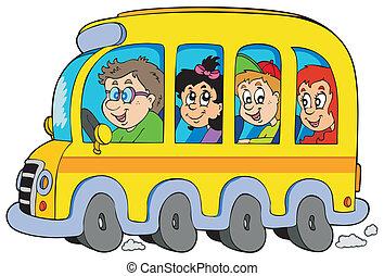 autobus, bambini scuola, cartone animato