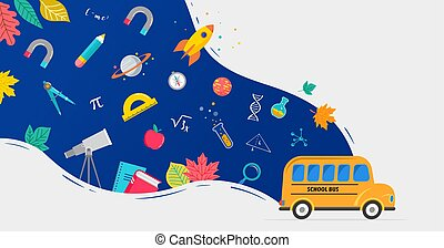 autobus, books., vettore, fondo, provviste, indietro, concetto, scuola, disegno, icone, illustrazione