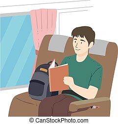 autobus, illustrazione, libro, leggere, tipo, adolescente