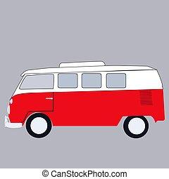autobus, mini, bianco, fondo., vettore, illustrazione