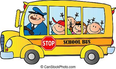 autobus, scolari, felice