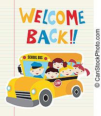 autobus, scuola, benvenuto, indietro