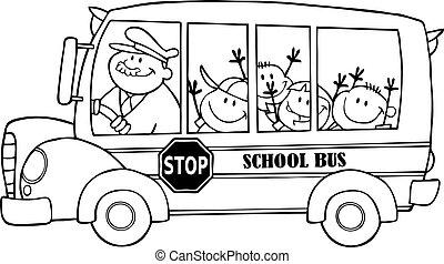 autobus, scuola, delineato