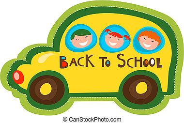 autobus, scuola, indietro