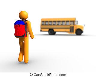 autobus, scuola, prendere