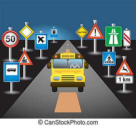 autobus, scuola, segni