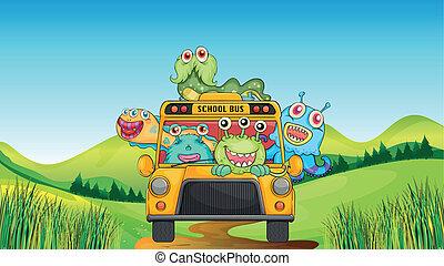 autobus, sorridente, mostri, scuola