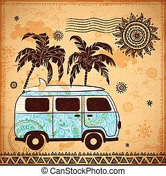 autobus, viaggiare, retro, fondo, vendemmia