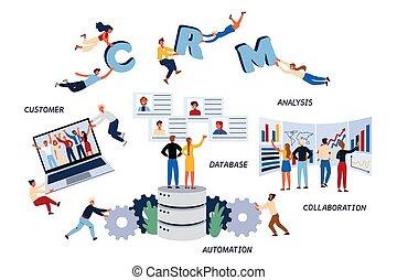 automazione, affari, cliente, concetto, collaborazione, management., analisi, cmr, database