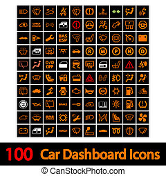 automobile, 100, cruscotto, icons.