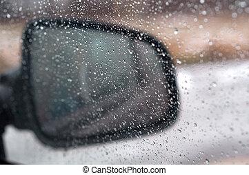 automobile, acqua pioggia, vetro, vetro, gocce
