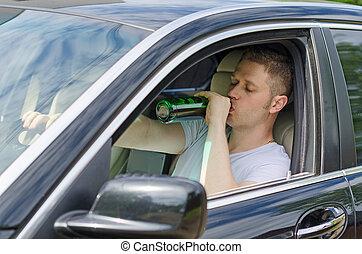 automobile., alcool, uomo, bere, sotto, influence., guida